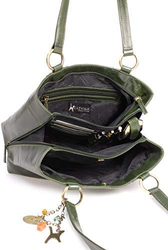 Shoulder Collection Catwalk Green Leather Big Bag Bellstone Tote Vintage wtfTPt