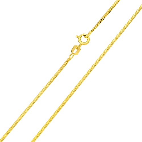 Sterling Silver Italian Chain Necklace 1mm 14K Gold Plated DC Square 4 Sided Snake Chain ( 16, 18, 20 Inch ) - (14k Chain Curves)