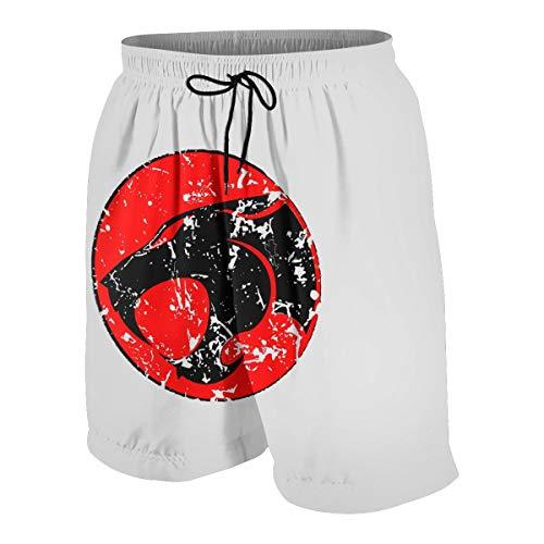 Teen Boys Beach Shorts Thundercats Logo Beach Pants Shorts for Teens Young Boy, Outdoor Short Pants Beach Accessories White