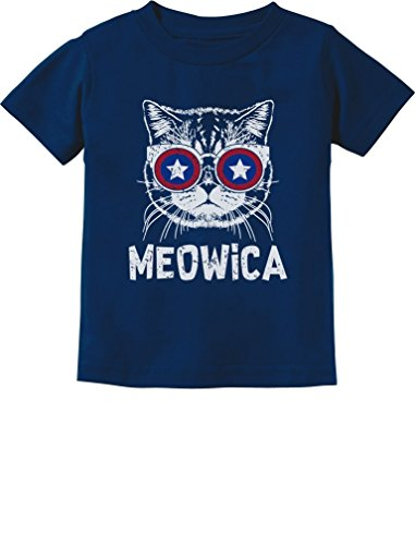 Meowica American Flag Patriot Cat 4th of July Toddler/Infant Kids T-Shirt