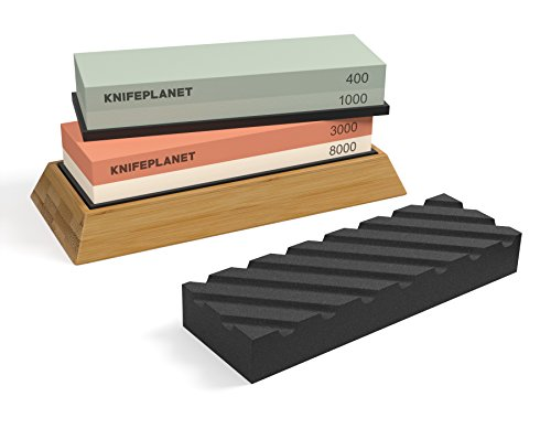 Complete Knife Sharpening Stone Set: 400/1000 Grit Water Stone, 3000/8000 Grit Water Stone, Bamboo Base, Flattening Stone And Online Sharpening Learning Material ()