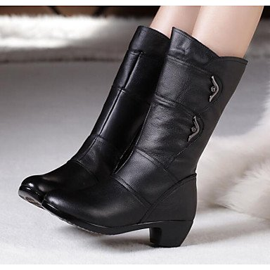 Combat Fashion Boots Nappa EU36 Casual Boots High UK4 Thigh For Boots Boots Leather Shoes US6 CN36 Black RTRY Winter Heel Chunky Women'S 0qXEF