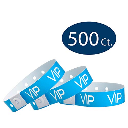 (WristCo Neon Blue VIP Plastic Wristbands - 500 Pack Wristbands for Events)