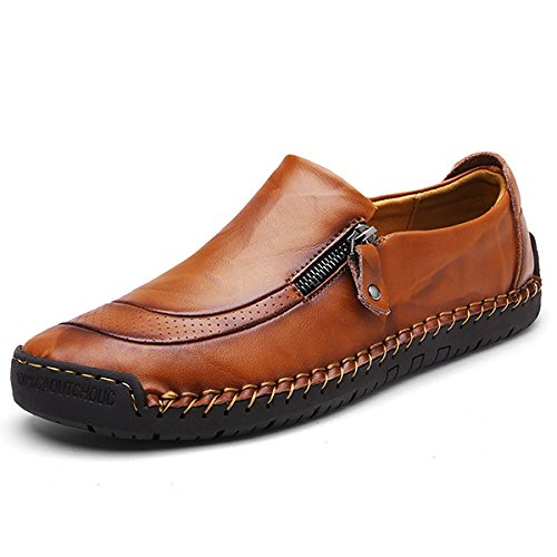 Image of gracosy Slip-On Shoes, Men's Leather Hand Stitching Zipper Non-Slip Casual Walking Sneaker Loafer Boat Shoes
