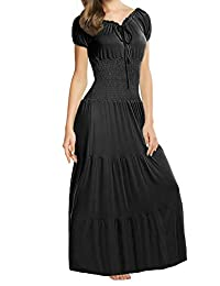 Meaneor Boho Cap Sleeve Smocked Waist Tiered Renaissance Summer Maxi Dress