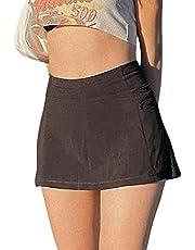 SAFRISIOR Women Y2K High Waisted Lining Mini Skirt Stretch Micro Short Skirt Tennis E-Girls 90s A-Line Punk Style Skort