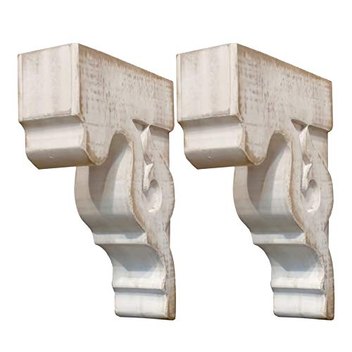 VIPSSCI Set of 2 Wood Corbels Weathered White Shelf Holders Decorative Bookends Corner Piece Corbel Set
