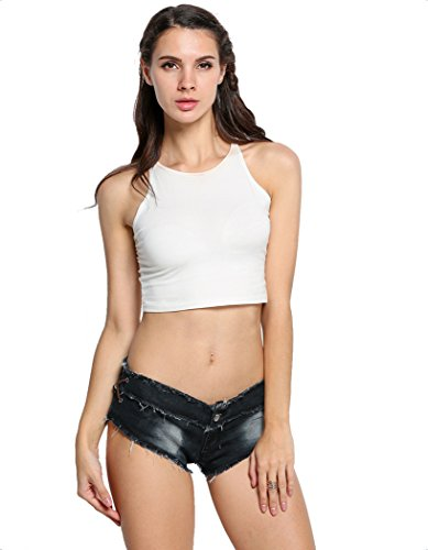 Romanstii Mini Shorts Denim Stretchable Cut Off Low Rise Waist Sexy Micro Jeans Hot Pants for Woman Girls Teen(Black Medium) ()