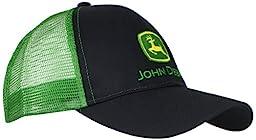 John Deere Men\'s Logo Contrast Mesh Back Core Baseball Cap, Black, One Size