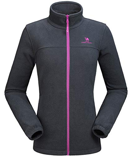 CAMEL CROWN Women Full Zip Fleece Jackets with Pockets Soft Polar Fleece Coat Jacket for Fall Winter Outdoor Grey XL