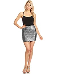 Anna-Kaci Vegas Night Out Sleek & Sexy Stretch Bandage Sequin Mini Pencil Skirt