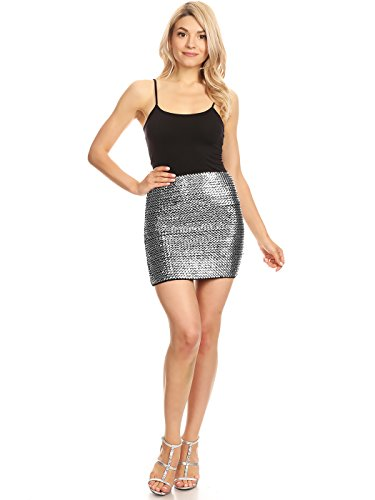 Anna-Kaci Womens Vegas Night Out Sleek Stretch Shiny Sequin Mini Pencil Skirt, Silver, Small/Medium