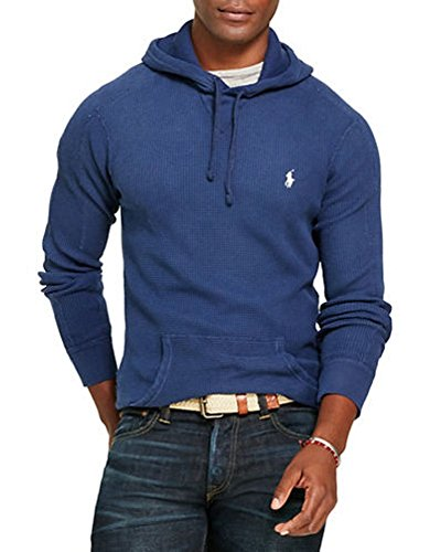 (Polo Ralph Lauren Men's Cotton Waffle Knit Hoodie Pullover Sweater (XX-Large, Rustic Navy))