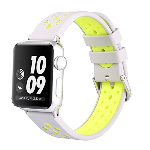 Solomo Replacement for Iwatch Band,iWatch Strap Stars Design Ventilation Holes Sport Wristband with Stripe Color Splicing Style for iWatch Series 4/3/2/1, Sport, Nike+ (38MM /40MM White)
