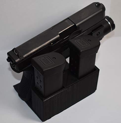 Premier Gun Accessories Glock Handgun Display Stand and Magazine Holder - Pistol Mount Rack (Double Stack 9mm)