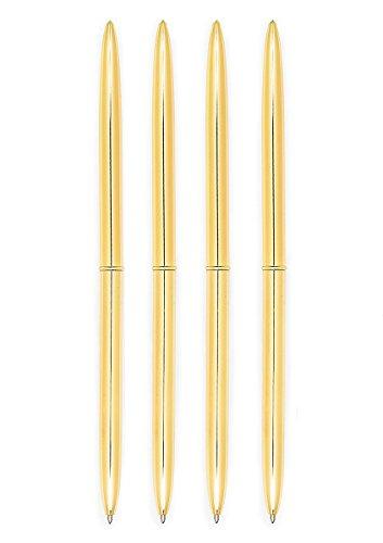 Echolife Set of 4 Gold Ballpoint Pens Black/Blue Ink Lightweight Metal Pens for Men Women Business Gift, Gold Office Supplies (Gold-Blue Ink)