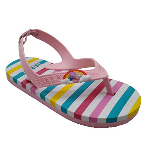 Naxo Kids' Boys Girls Beach Sandals Flip Flops Fashion Rainbow Striped Colorful Love Summer Shoe Pink