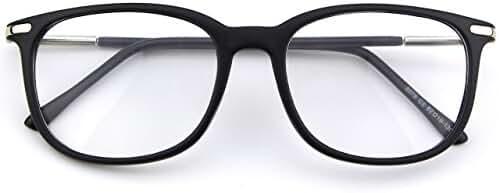 Happy Store CN79 High Fashion Metal Temple Horn Rimmed Clear Lens Eye Glasses,Matte Black
