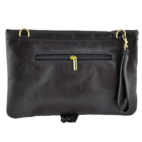 Pochette In Pelle Colore Nero - Pelletteria Toscana Made In Italy - Borsa Donna
