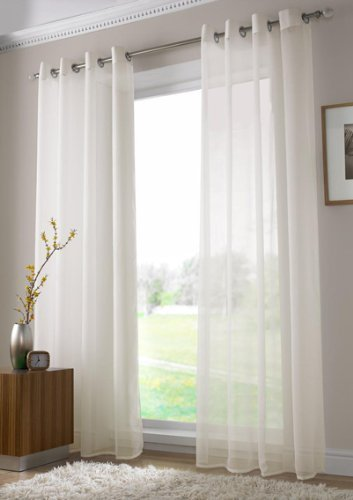 Ideal Textiles Plain Voile Curtain Panel Ring Top Heading Eyelet Curtains Sheer