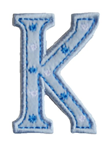 TrickyBoo Iron-On Letter Patch Craft Applique K Baby Blue 5Cm For Jeans Clothing Fabric Names Crafts To Iron On Motifss Personalize Applique Sew On Iron On Patches Personally Clothes Birthday ()