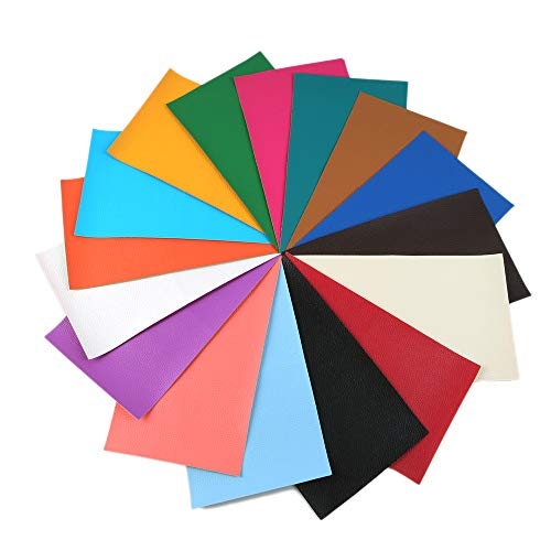"""David Angie 16 Pcs Litchi Pattern Faux Leather Fabric Sheet 8"""" x 13"""" (20cm x 34cm) Thick Solid Colors Leather Sheet Perfect for Making Hair Bow Wallet Handbags Dressing Sewing Craft (big litchi grain)"""