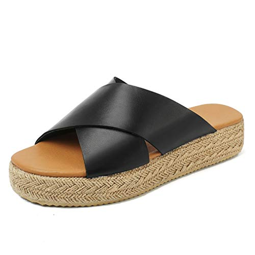 (VANDIMI Sandals for Women Espadrille Platform Sandals Straw Wedge Cross Ankle Strap Open Toe Shoes Summer Casual Peep Toe Mid Heel Flat)