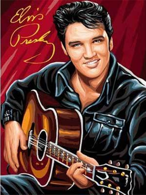 (DIY 5D Diamond Painting by Number Kit, Elvis Presley Crystal Rhinestone Crystal Embroidery Cross Stitch Arts Craft Canvas Wall Decor 15.7X11.8IN(Full Drill))