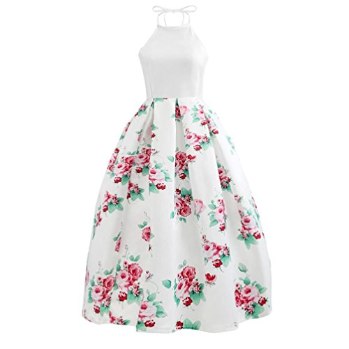 Gorgeous Printed Gown - Women Halter Floral Long Swing Dress Sleeveless Prom Party Ball Gown Formal Evening Beach Maxi Dress (White, L)