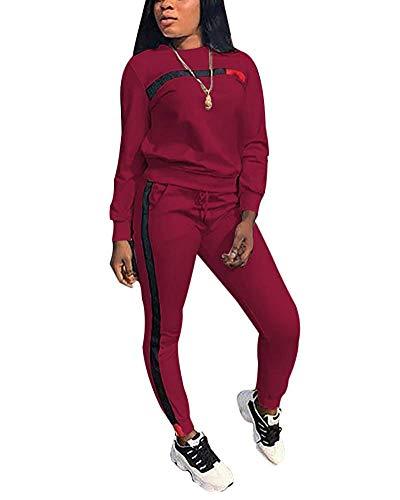 - TOP-MAX Women's Sweatsuits, Women's 2 PCS Tracksuit Round Neck Long Sleeve Top Stripe Long Pants Jumpsuit Outfits Set for Sport