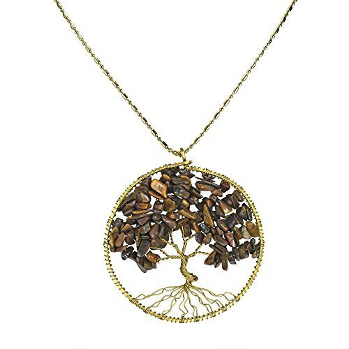 [DEW Drops Tiger Eye Stone Pendant Tree of Life Brass Necklace Gemstone Jewelry for women,Gifts For Mom] (Polynesian Girl Costume)