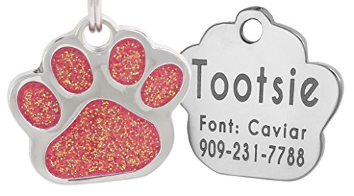 Laser Engraving Glitter Paw Pet ID Tags Custom Personalized for Dog & Cat Paw Print Tag (Rose)