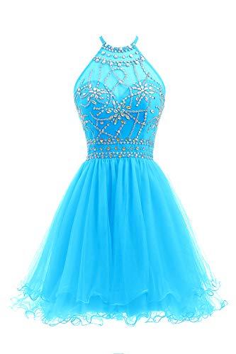 Ellames Women's Beaded Halter Homecoming Dress Short Tulle Prom Dress Blue US 6
