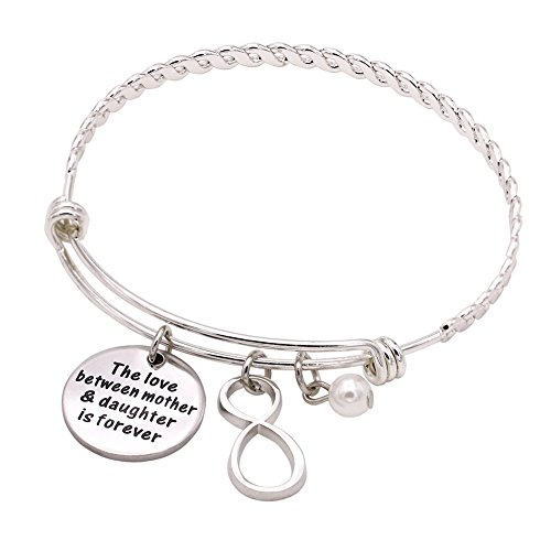 Melix Stainless Steel Mother Daughter Bangle Bracelet Adjustable, Gift For Mom From Daughter]()