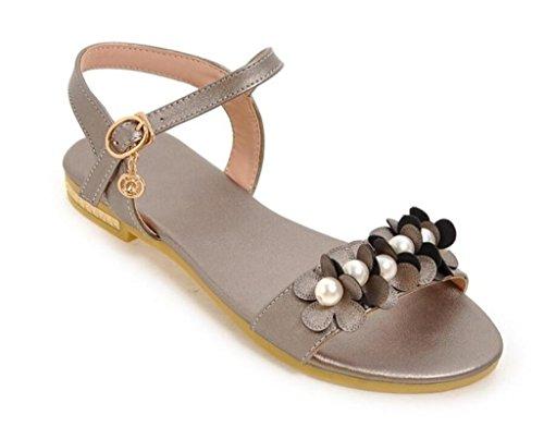 xie 1cm école Perles d'été Appartements de Jours Les Shopping Dames 32 Tous Sandales Grey Confortables Fleurs pour 41 35 4r4FwR6q