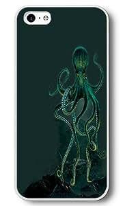 iPhone 5C Case, 5C Cases - Octopus White Plastic Hard Bumper Case Cover for iPhone 5C