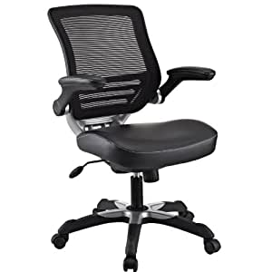 Modway Edge Mesh Back and Black Vinyl Seat Office Chair With Flip-Up Arms - Ergonomic Desk And Computer Chair
