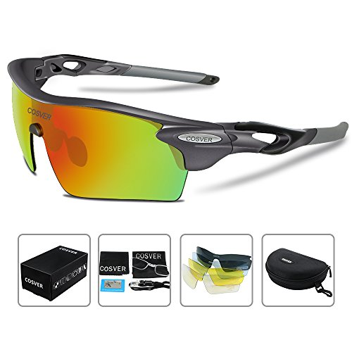 COSVER Polarized Sport Sunglasses for Mens Women Cycling Running Fishing with 5 Interchangeable Lenses Glasses (Gray, - Sunglasses Triathlon