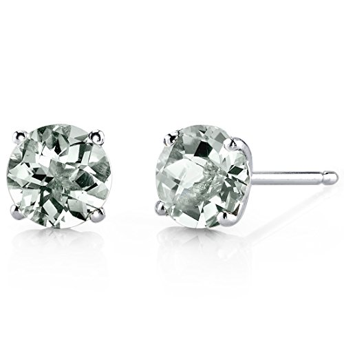 Green Carats 1.50 - 14 Karat White Gold Round Cut 1.50 Carats Green Amethyst Stud Earrings