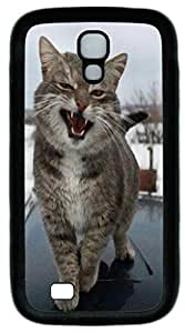 Black Soft Hard Case Cover For Samsung Galaxy S4 I9500 PC Back Phone Case Single Shell Skin For Samsung Galaxy S4 I9500 With Shy Cat
