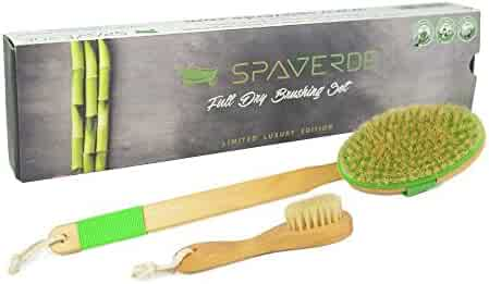 100% Natural Boar Bristle Body Brush & Face Brush Set for Dry Brushing, Bath & Shower with Long Handle - Exfoliate Skin, Reduce Cellulite & Improve Circulation - Perfect As a Gift - FREE Bag & How-To
