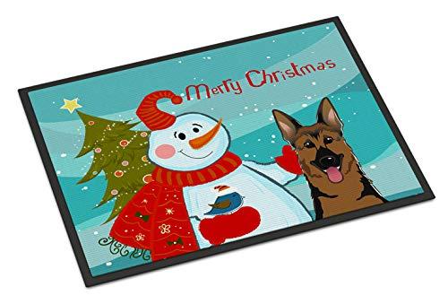Caroline's Treasures Snowman with German Shepherd Indoor or Outdoor Mat, 18 by 27
