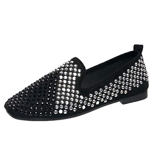 Aunimeifly Woman's Vogue Rhinestone Flat Lazy Casual Single Shoe Comfortbable Bling Shoes Flats ()