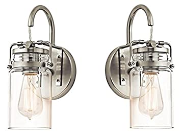 Kichler 45576NI Brinley 1 Light Wall Sconce And Clear Glass Shade Brushed Nickel Finish