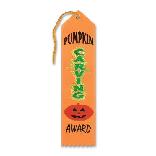 Beistle HAR516 Pumpkin Carving Award Ribbon, 2