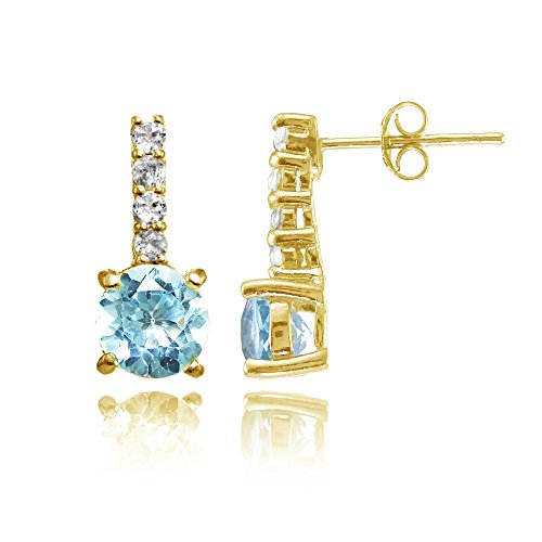 Yellow Gold Flashed Silver Blue & White Topaz 5-Stone Round Drop Earrings ()