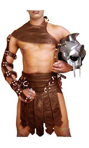 Brown Real Cow Leather Mens Roman Gladiator Kilt Set LARP - (K3-BRW) W36 -