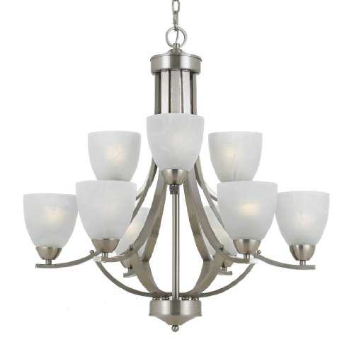 (Triarch 33294 9 Light Value Large Chandelier, Satin Nickel)