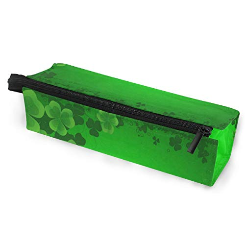 (Glasses Case Clovers Leaves Multi-Function Zippered Pencil Box Makeup Cosmetic Bag for Women )