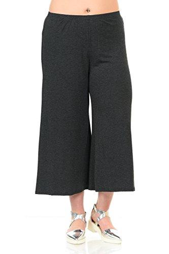 (Pastel by Vivienne Women's Wide Leg Crop Culottes Plus Size XXX-Large Charcoal)